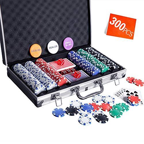 Homwom Casino Poker Chip Set - 300PCS Poker Chips with Aluminum Case, 11.5 Gram Chips for Texas Holdem Blackjack Gambling