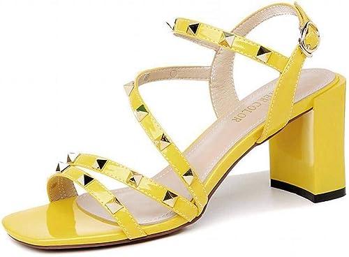 LTN Ltd - sandals Chaussures à Talons épais épais Cloutés Mode Estivale Sandales D'été Femme Chaussures de Fée Vent Chaussures à Talons Hauts, Jaune, 39  nouveaux produits nouveautés