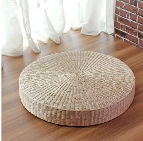 YQ WHJB Pelle di Mais Cuscino,Rotondo Mano-Tessuto Cuscini per Sedili,Tatami Pad Meditazione Yoga Tastiera Sedile A 60x60x10cm(24x24x4inch)
