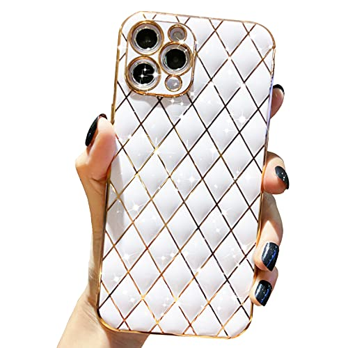 Anynve Compatible with iPhone 11 Pro Max Case, Sparkle Luxurly Plating Lattice Design, Unique Full Camera Lens Protection + Shockproof Edge Bumper Slim Soft TPU Cover Case [6.5 inch] -White