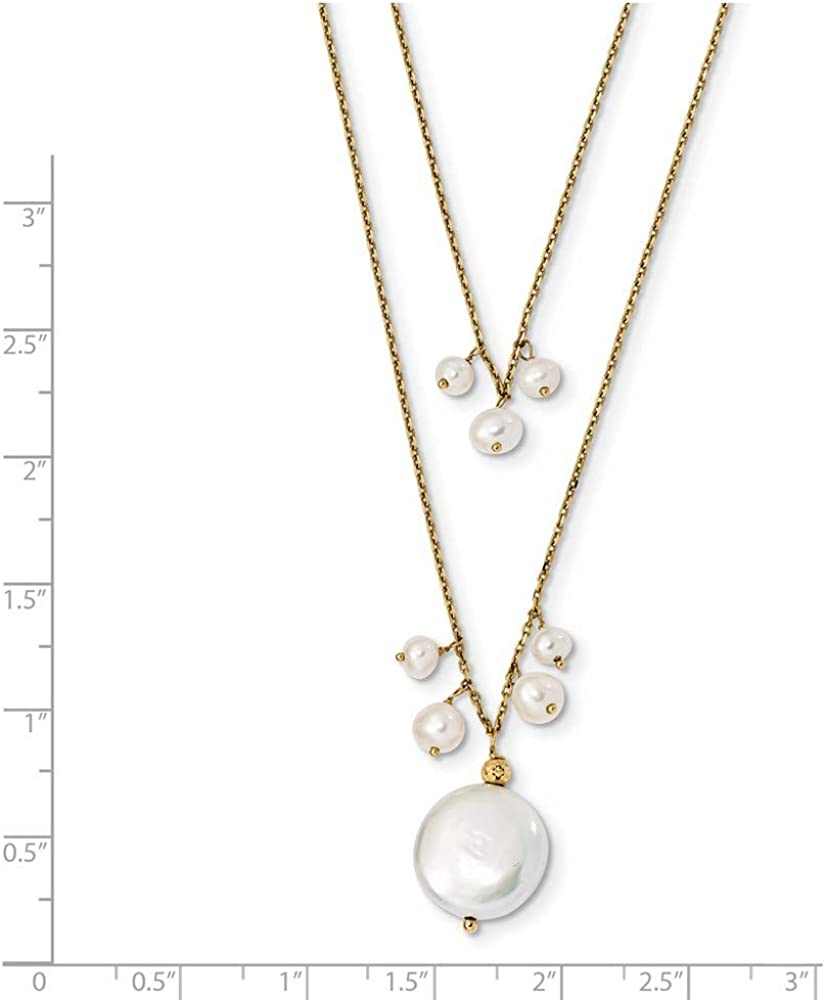 14k Yellow Gold 14mm Coin 4mm Rice Freshwater Cultured Pearl 2 Strand Chain Necklace Pendant Charm Multi Layer Fine Jewelry For Women Gifts For Her
