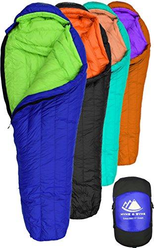 Hyke & Byke Eolus 800FP -10 Grad und -15 Grad C Daunenschlafsack für Wanderung und Camping – Schlafsack Winter – Schlafsack Leicht für Rucksacktouren und Camping – Schlafsack Kleines Packmaß