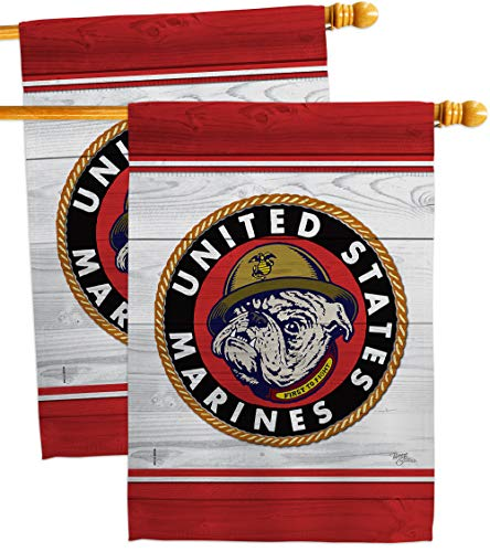 Breeze Decormarine Bulldog House Flag 2 Pcs Pack Armed Forces Corps Usmc Semper Fi United State American Military Veteran Retire Official Banner Small Garden Yard Gift Double Sided Made In Usa