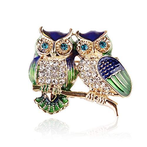 Alfileres de esmalte de ojos azules, broche de búho de pareja de diamantes de imitación, broches de animales para mujeres, hombres, ropa, bufanda, hebilla, collar, alfileres de joyería