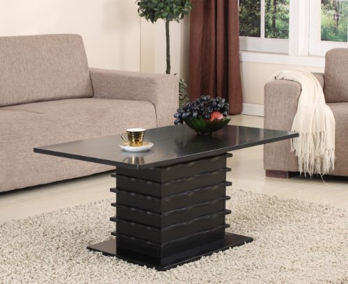 King's Brand Wood Wave Design Cocktail Coffee Table, Black Finish