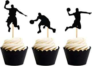 24 PCS JeVenis NBA Star Cupcake Topper Basketball Cake Toppers Basketball Player Cupcake Picks Basketball Star Cupcake Decoration for Basketball Theme Party Decorations Supplies