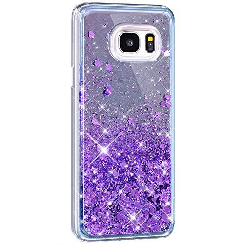 Surakey kompatibel mit Samsung Galaxy S7 Edge Hülle Spiegel Silikon Glänzend Glitzer Flüssig Treibsand Schutzhülle Liebe Herz Fließend Soft TPU Silikon Bumper Handyhülle Tasche Case, Lila