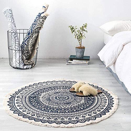 Tiamu Alfombra redonda de algodón, Alfombra Gris Lavable Tejidas con borla Para el hogar, sala de estar, decoración de dormitorios 90 cm*90 cm