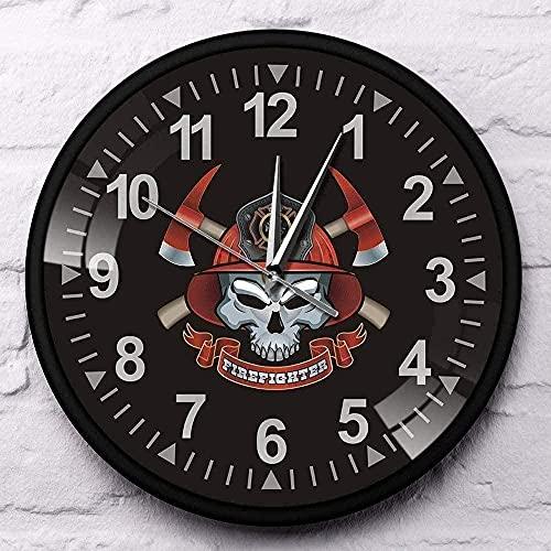 WYDSFWL Reloj de Pared Calavera de Bombero con Ejes Cruzados Marco de Aluminio Negro Reloj de Pared Cruz de Malta Calavera de Bomberos Reloj del Departamento de Bomberos Silencioso Fácil de Leer