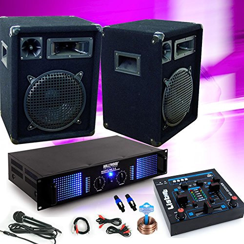 etc-shop PA Musikanlage Party Lautsprecher Boxen 1200W Verstärker USB Mischpult Mixer DJ-143