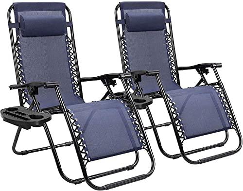 MLL Garden Sunloungers,2 Pack Recliners Chairs Outdoor,Sun Lounger Zero Gravity Reclining Sun Lounger Chair Lounger Recliner Adjustable Back Desk Chair for Patio Camping Beach