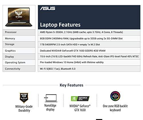 ASUS TUF Gaming FX505DT 15.6-inch FHD Laptop, Ryzen 5 3550H, GTX 1650 4GB GDDR5 Graphics (8GB RAM/1TB HDD/Windows 10/Stealth Black/2.20 Kg), FX505DT-BQ151T