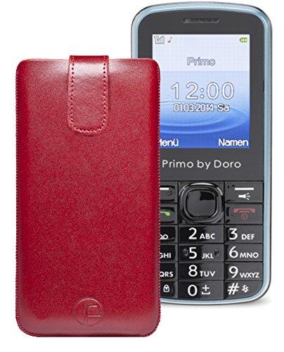 Original Favory ® Etui Tasche für / Primo 305 by Doro / Leder Etui Handytasche Ledertasche Schutzhülle Hülle Hülle *Lasche mit Rückzugfunktion* In Rot