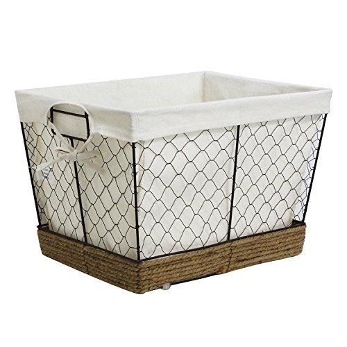 WM Homebase Aufbewahrungskorb aus Metall Metallkorb Aufbewahrungsbox 41x33x28 cm