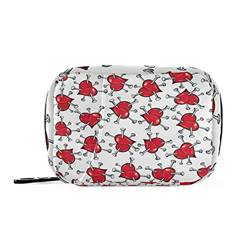 Hunihuni - Bolsa de almacenamiento para píldoras de San Valentín con patrón de corazón, bolsa de almacenamiento con cremallera para viajes