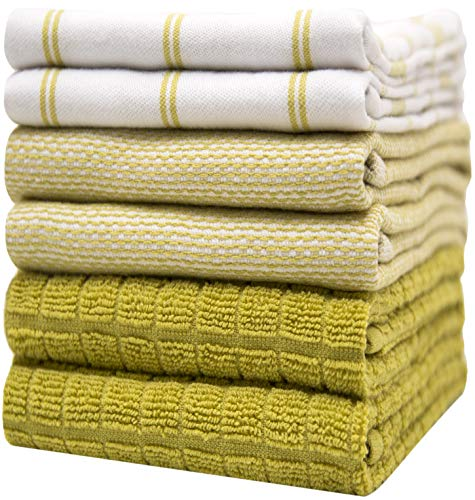 """Premium Kitchen Towels (20""""x 28"""", 6 Pack) – Large Cotton Kitchen Hand Towels – Check Flat & Terry Towel – Highly Absorbent Tea Towels Set with Hanging Loop – Lime Green"""