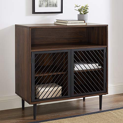 Walker Edison Furniture Company Modern Metal Wood Buffet and Bar Cart Kitchen Storage Cabinet Shelf, 32 Inch, Dark Walnut Brown