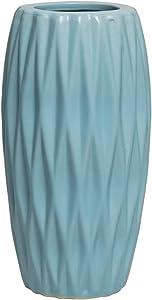 Hetoco Jarrón de cerámica para decoración del hogar, jarrón y Centro de Mesa para Amigos y Familia, Navidad, Boda, Despedida de Soltera, cerámica, Azul, 8 Pulgadas