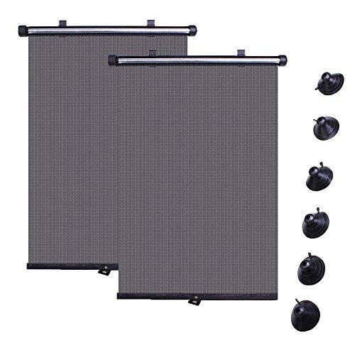 Tasquite - Lot de 2 rideaux enroulables faciles à installer pour protection des enfants et bébés contre les rayons UV