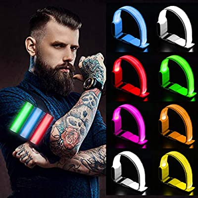 PROLOSO 8 Pcs LED Armband Light Up Bracelets Glow in The Dark Sports Bands Safety Reflective Gear for Night Running Cycling Jogging Hiking