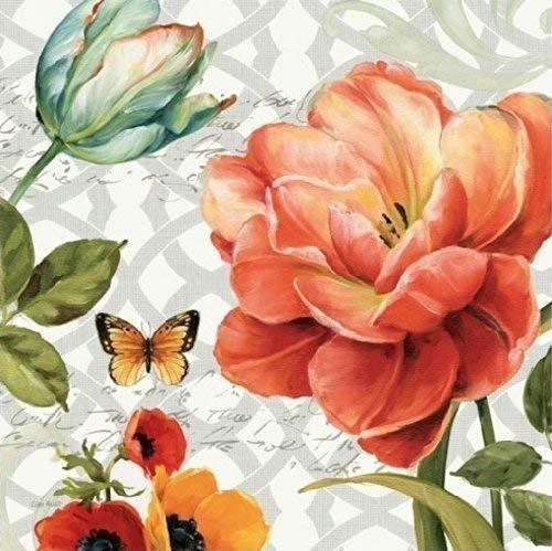Keilrahmen-Bild - Lisa Audit: Floral Story III on grey 50 x 50 cm