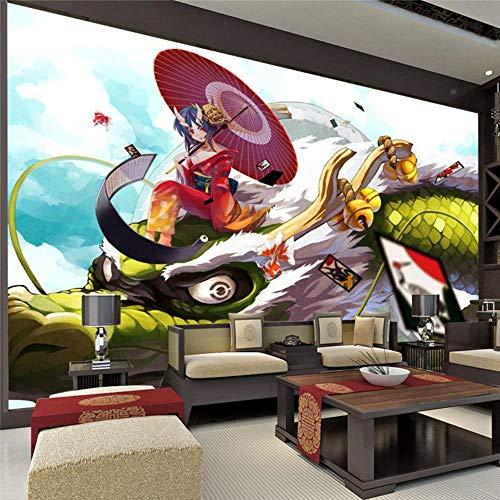 LJIEI Wandbilder Tapeten Fantasy Girl and Dragon Fototapete Japanische Anime Benutzerdefinierte Cartoon Tapete Raumdekorkunst Kinderzimmer Schlafzimmer-300CM * 210CM (W * H)