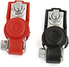 uxcell 2pcs Red Cover Car Battery Terminal Clamp Clips Positive Negative DC 6V 12V