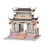 XLZSP DIY Chinesischer Stil Antike Gebäude Haus Modellbausatz 3D Handgemachte Holz Miniatur Puppenhaus Pavillons Türme Montage Puzzle Spielzeug Geschenke für Kinder und Erwachsene (1)