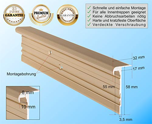 Treppenkantenprofil f/ür Treppenverkleidung und Treppenrenovierung Messing-Sand Farbe RenoProfil 120 cm Treppenprofil STANDARD 8,5 f/ür Laminat und Vinyl