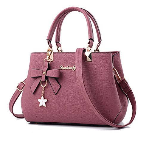 Dreubea Womens Handbag Tote Shoulder Purse Leather Crossbody Bag Rubber Pink