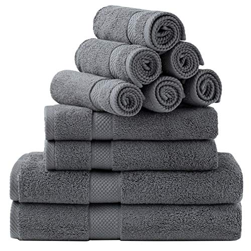 Bedsure Bath Towels Sets for Bathroom, Combed Cotton Bathroom Towels Set - 10 Pack, 2 Bath Towels 27x54, 2 Hand Towels 16x30, 6 Wash Cloths 13x13,...