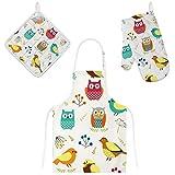 Jeansame - Set di grembiuli e guanti da forno con gufi e uccelli