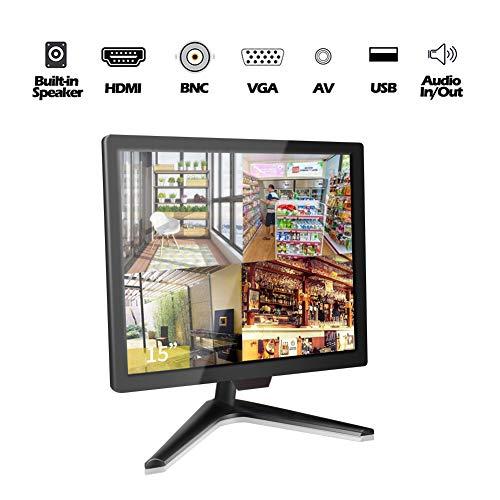 15 Zoll CCTV Monitor, Cocar Surveillance Bildschirm, LCD Display für Heimsicherheitssysteme Überwachungskamera STB PC, 1024x768 Eingebauter Lautsprecher, BNC/VGA/HDMI/Audio/Vesa-Wandmontage