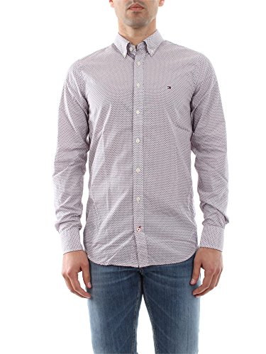 Tommy Hilfiger Pando Dot PRT SF2 Chemise Business, Gris (Dutch Navy Pt/Barbados Cherry Pt), 39 (Taille Fabricant: M) Homme^Homme