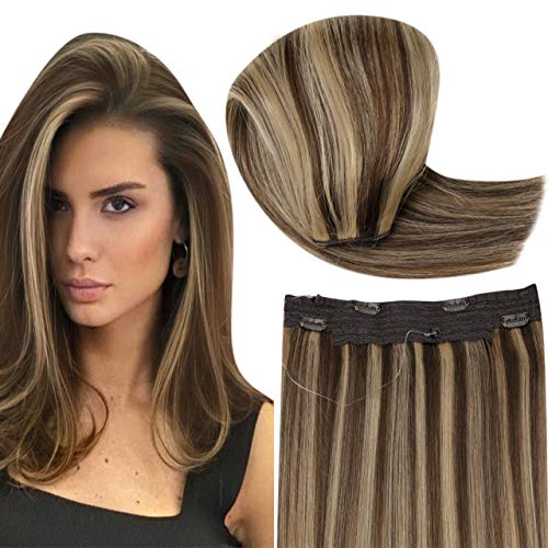 Hetto Brown Halo Human Hair Extensions Brown Highlight Caramel Blonde Wire Hair Extensins Remy Straight Hidden Crown Hair Extensions 14 Inch 50g