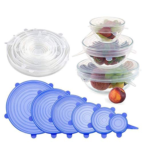 Home Cloud Reusable Silicone Stretch Lids, Durable Food Storage Covers for Bowls, Fit Different Sizes & Shapes of Container, Dishwasher & Freezer Safe (Pack of 6)
