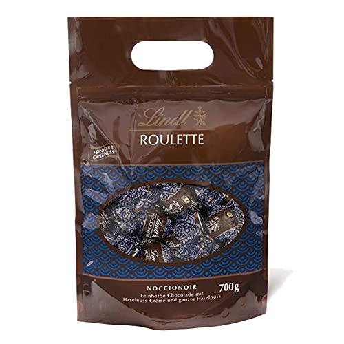 Lindt ROULETTE Beutel Noccionoir, Feinherbe Schokolade mit Kakaocrème und ganzer Haselnuss in Jeder Kugel, Geschenk, Großpackung, 700g