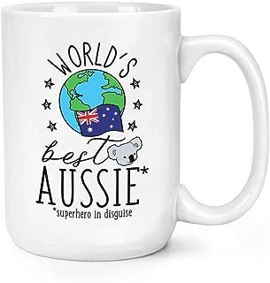 World'S Best Aussie 11 oz Ceramic Glossy Mug With C-handle - Funny Australian Australia Flag