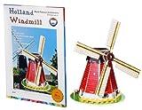 JIOSJFI Feliz Puzzle BM-227 Holanda Molino de Papel 3D Jigsaw Puzzle 24 Piezas Set