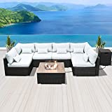 SUNPEAK Fire Table Set Sectional Outdoor Furniture Propane Firepit Dark Brown Rattan Multi Colors Outdoor Sofa Set (Pure White Square Table)