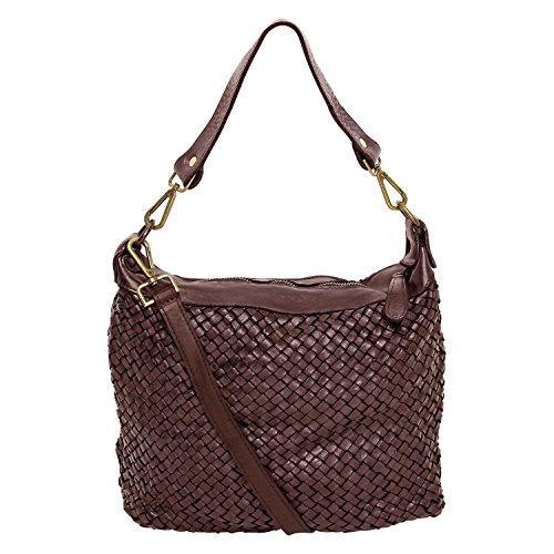 fashion-formel Damen Tasche Beutel, Schultertasche Vintage Used Look M2117 geflochten,gewaschenes Leder, Italy handgefertigt