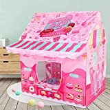 Young Buds Tent for Kids Pink Playhouse Tent with Light String Indoor Outdoor Portable with Carrying Bag Party Supplies (Donut Tent)