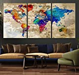 Watercolor World Map Wall Art Multi Panel X-Large Hanging Canvas Print for Home Decor | Track Your Travels with This Rainbow Looking Map | Framed & Ready to Hang, 3 Size