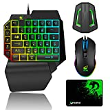 Gaming Keyboard and Mouse Combo, Wired 39 Keys Mechanical Feeling Rainbow Backlit Keyboard with Wrist Rest and RGB Gaming Mouse and LED Backlit Converter for PS4/Xbox One/Nintendo Switch/PS3 /PC