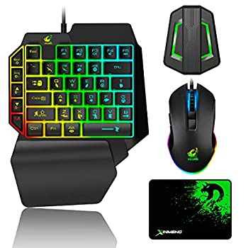 Gaming Keyboard and Mouse Combo Wired 39 Keys Mechanical Feeling Rainbow LED Backlit Keyboard and RGB Gaming Mouse and LED Backlit Converter Compatible with PS4/Xbox One/Nintendo Switch/PS3 /PC