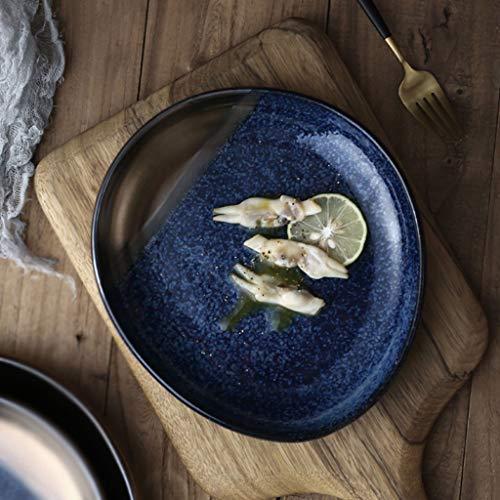 YC-Plato Cacerola de la Torta Irregular de cerámica de Dim Sum del hogar, Placa Occidental del Filete para el Restaurante del Hotel (tamaño : 23x25cm)