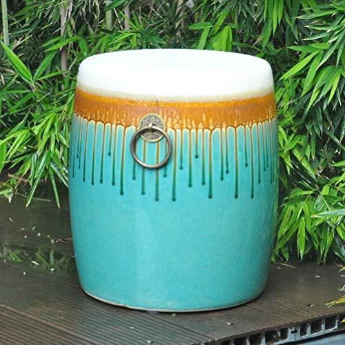 FEE-ZC Taburete Antiguo para tocador Taburete de Tambor Taburete de jardín de Porcelana China Taburete de cerámica Azul Antiguo de Tambor Chino de jingdezhen (31x38cm) (Color: A)
