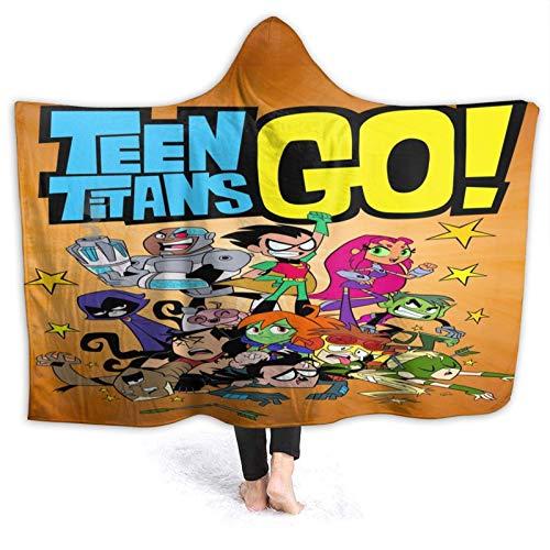 Jupsero Teen Ti tans Go Super Soft Micro Fleece Plaid Patchwork Plush Ligero Sofá Decorativo de Doble Cara Sofá de Viaje Cama de Regazo Manta con Capucha 60 'x50' para Adolescentes