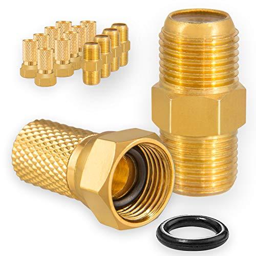 HB-DIGITAL Set: 10x F-Stecker 7mm Vergoldet breite Mutter + 5X F-Verbinder Buchse / Buchse Vergoldet HQ für Koaxial Antennenkabel Sat Kabel BK Anlagen