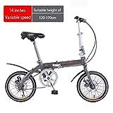 Chang Xiang Ya Shop Vélo à Vitesse Variable VTT Pliant garçons et Filles vélo extérieur vélo de Route Petit Scooter de Banlieue (Color : Gray, Size : 14 inches)